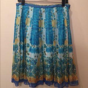 ECI beautiful blue paisley skirt 8 petite, Silk